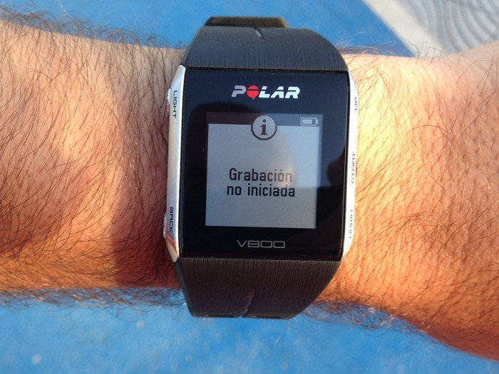 Recording warning not started on Polar V800
