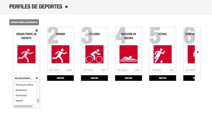Añadir perfil de deporte