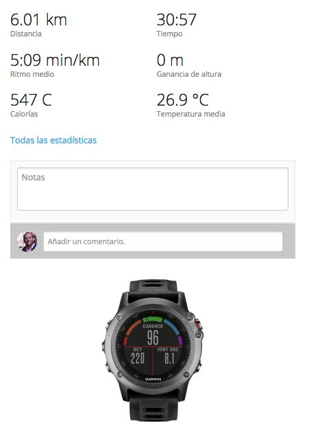 Garmin Fenix 3 carrera en interior