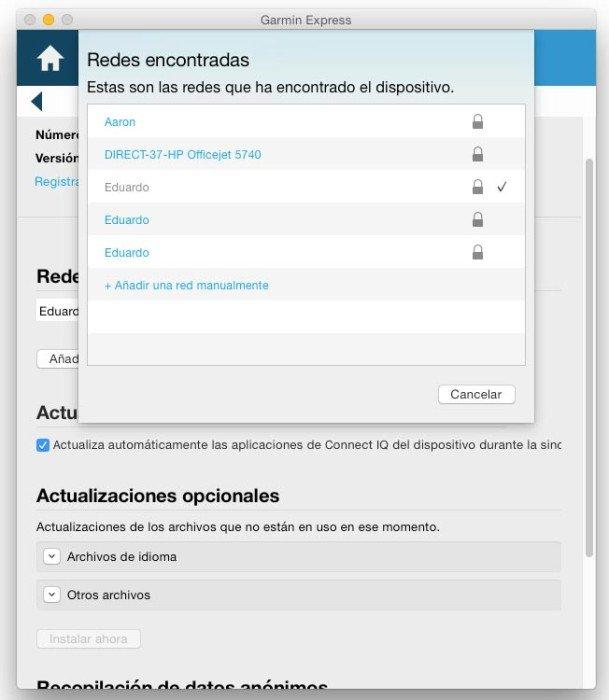 Fenix 3 añadir red WiFi