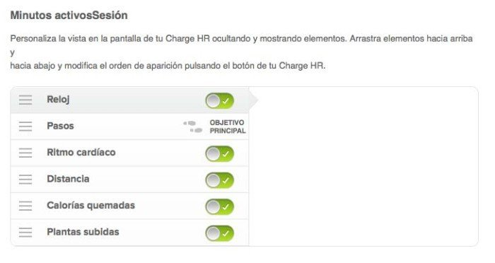 Fitbit Charge - Configurar orden pantallas