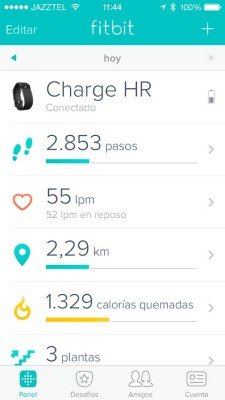 Fitbit Charge HR - Pantalla principal aplicación