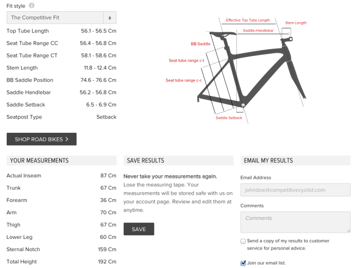 Bicycle frame size