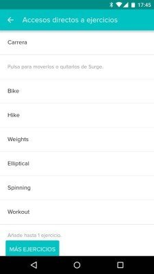 Fitbit Surge - Configuración ejercicios