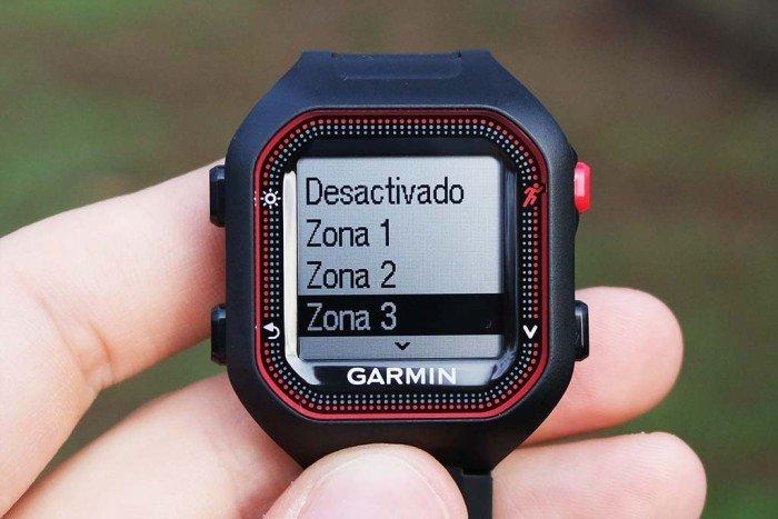 Garmin Forerunner 25 - Selección de alarma por zonas