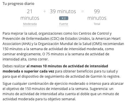 Garmin Vivosmart HR - Minutes of activity