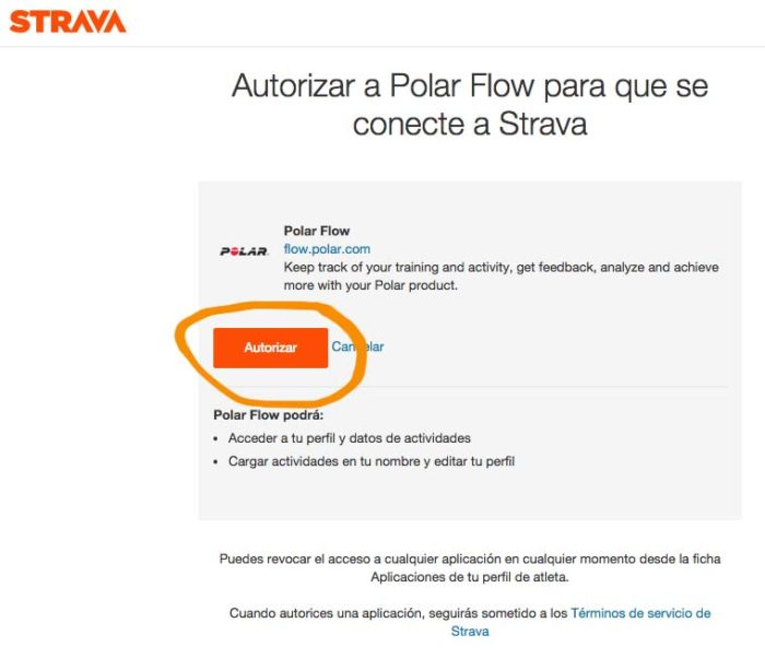 Sincronizar Polar con Strava