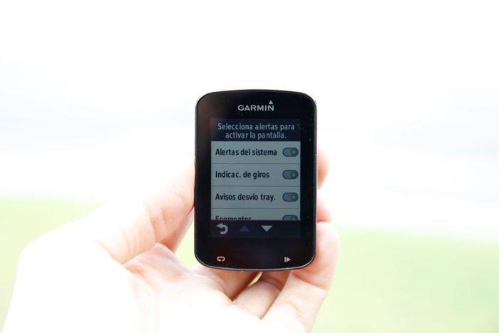 Garmin Edge 820 - Alertas activar pantalla