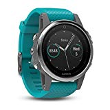 Garmin Fenix 5s sport gps watch with outdoor navigation and heart rate, 1.1 inch display, 0.069 kilograms, color Turquoise band