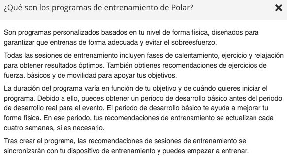 Polar training programs