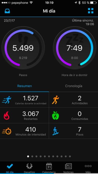 Garmin Connect - Mi día