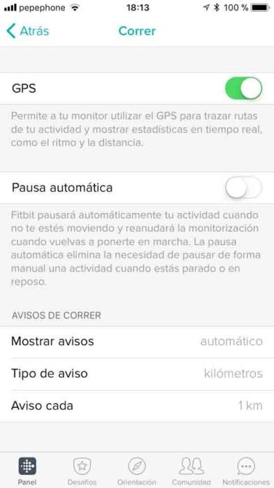 Fitbit Ionic - Opciones de perfil deportivo