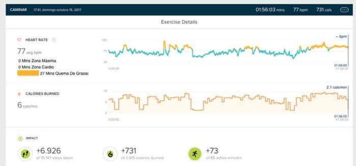 Fitbit Ionic - Actividad paseo automático