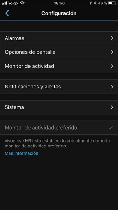 Garmin Vivomove HR - Configuration