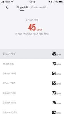 Amazfit stratos - Heart rate on application