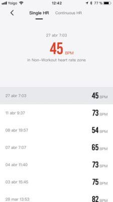 Amazfit stratos - Frecuencia cardíaca en la aplicación