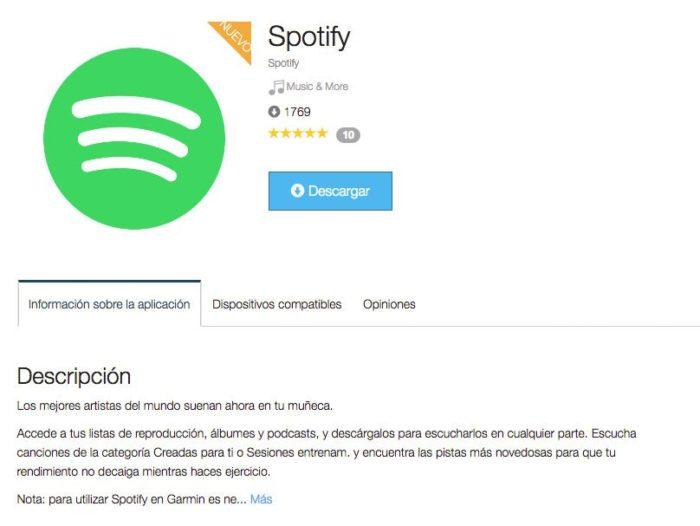 App Spotify Garmin