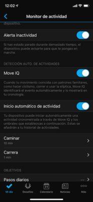 Pulsera de actividad Garmin Vivosmart 4 - Configurar la actividad
