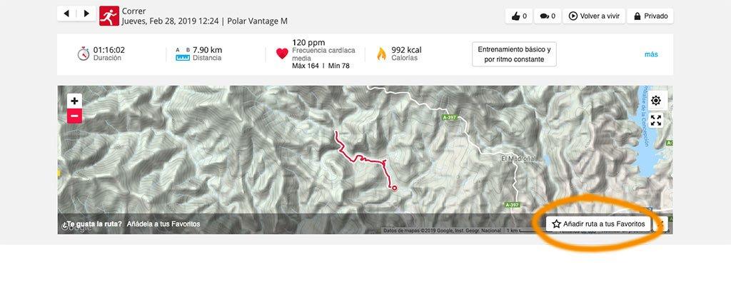 Polar Vantage - Rutas
