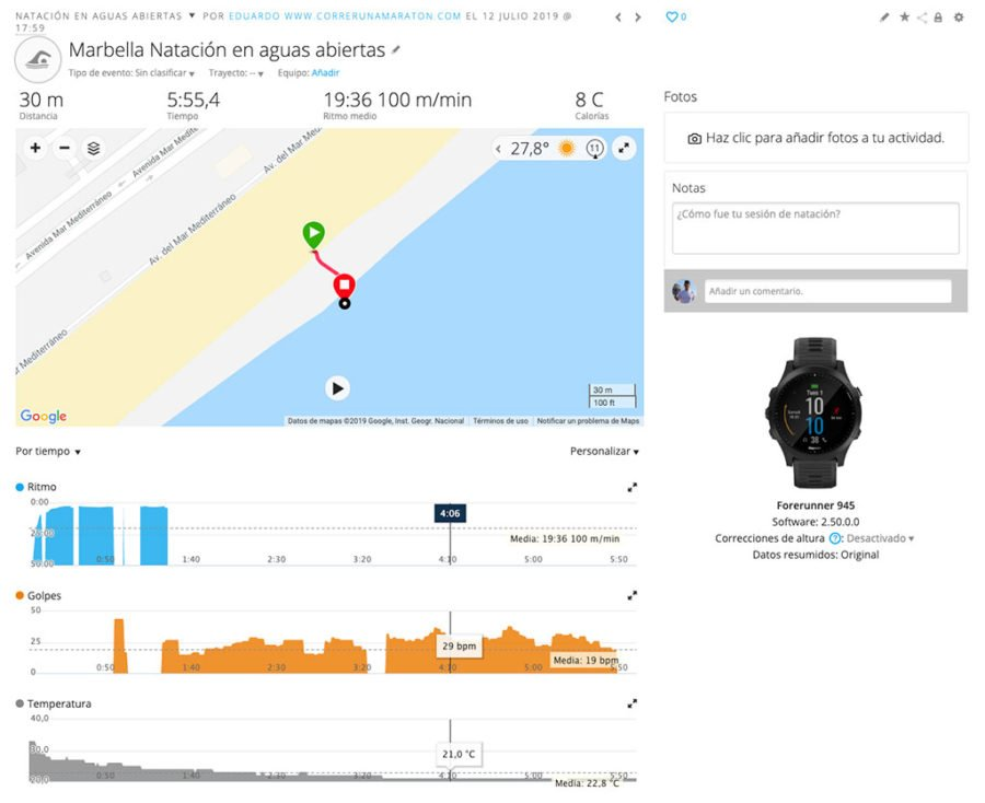 Garmin Forerunner 945 - Open water swimming problem