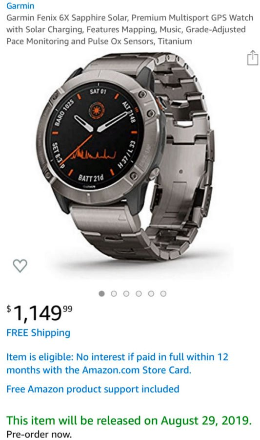 Garmin Fenix 6X Solar - Amazon Filtration