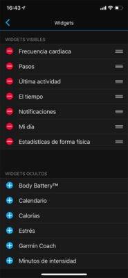 Garmin Forerunner 45 - Widgets