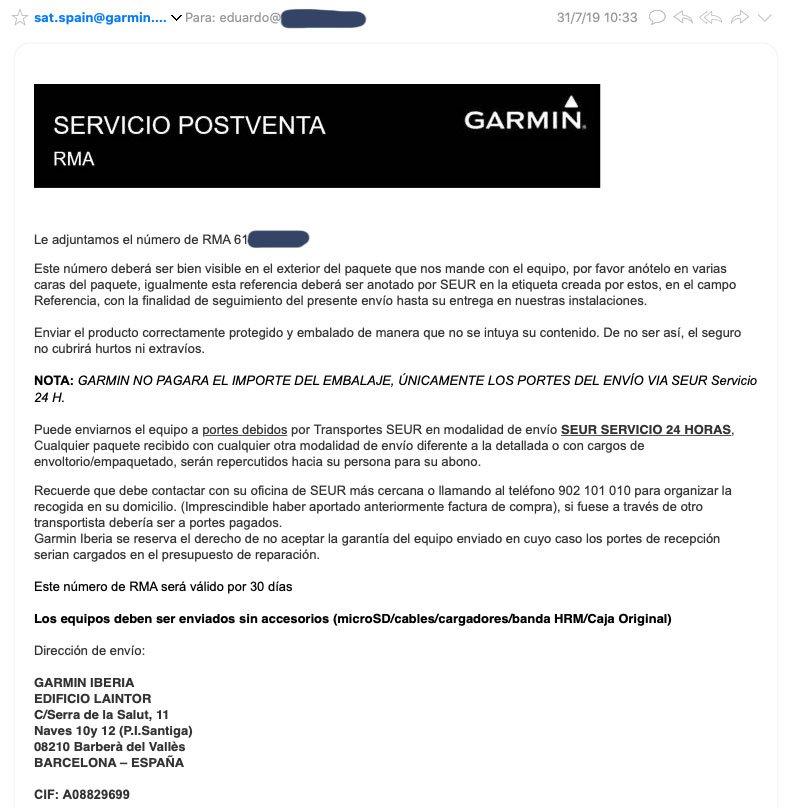 Processing Garmin Warranty