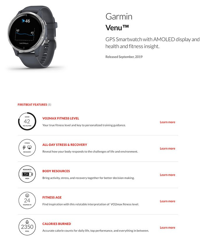 Garmin Venu - Firstbeat