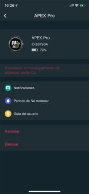COROS APEX Pro - Aplicación móvil