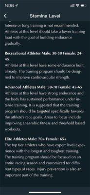 COROS - Nivel de entrenamiento