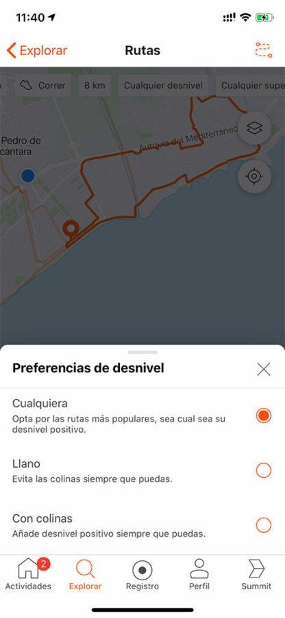 Creación de rutas de Strava - Desnivel