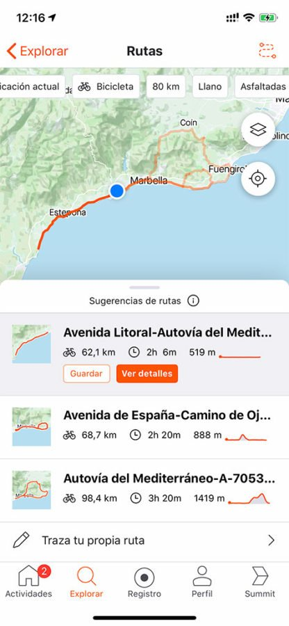 Proposición de ruta de Strava