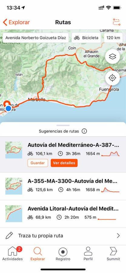 Strava - Ruta de bici calculada