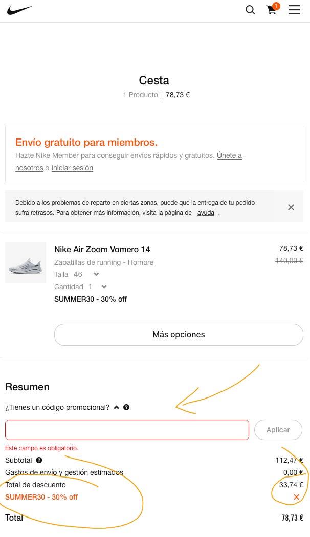Nike descuento verano 2020