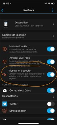 Garmin Edge 1030 Plus - Livetrack con trayecto