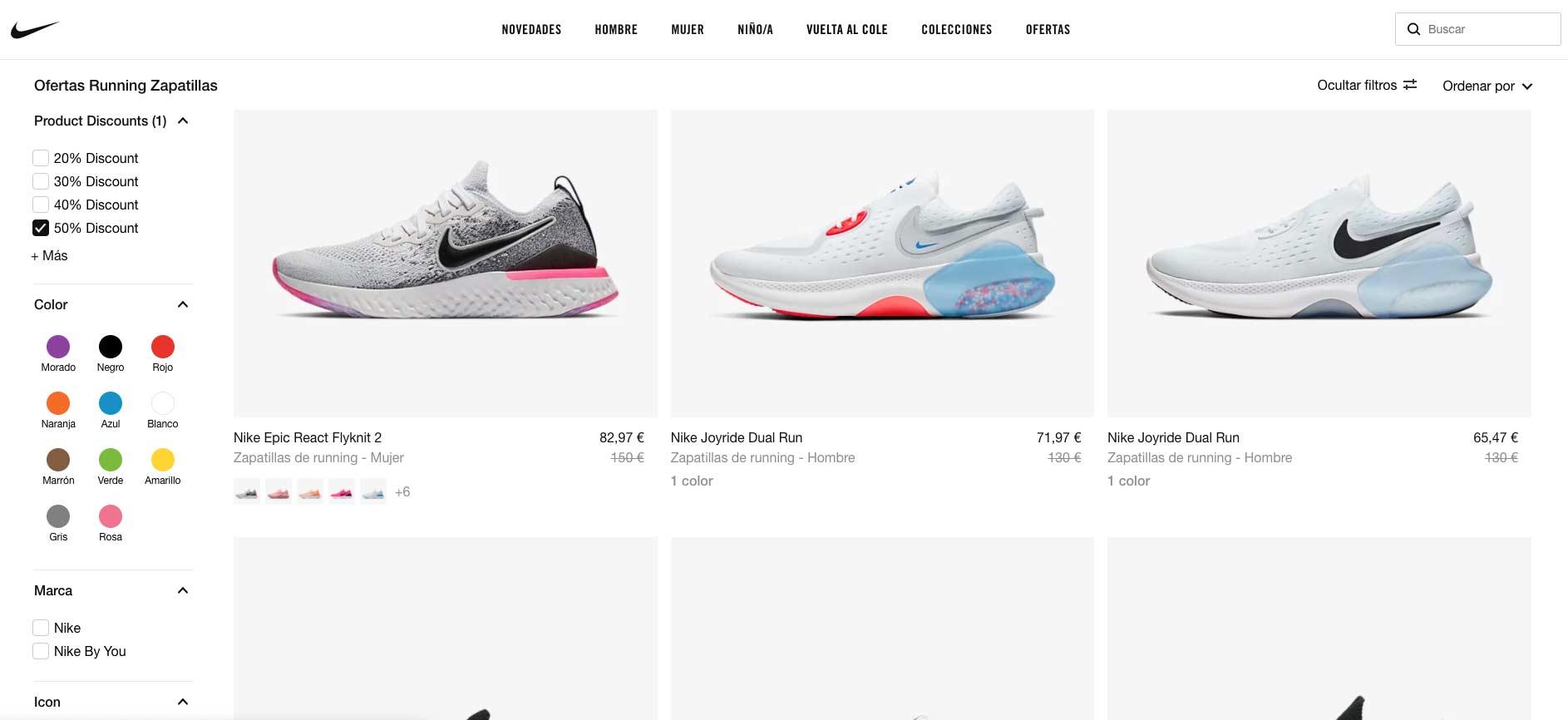 Nike - Ofertas zapatillas running Julio 2020