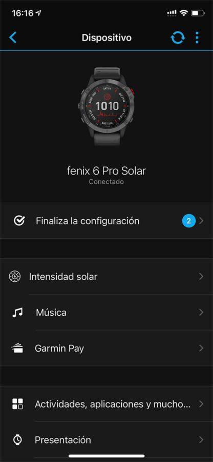 Garmin Fenix 6 - Intensidad solar