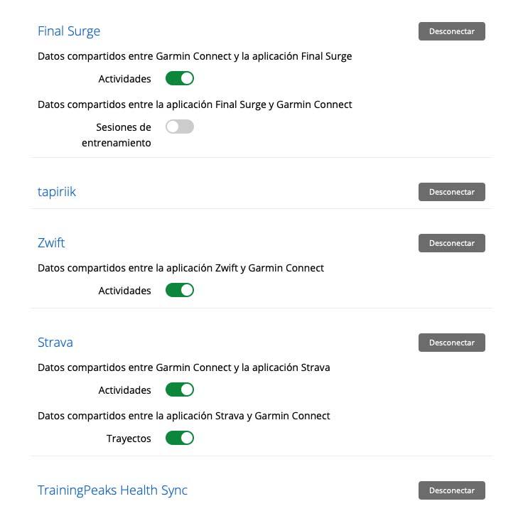Garmin - Sincronización de plataformas