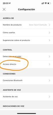 Bose Sport Earbuds - Acceso directo