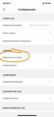 Bose Sport Earbuds - Detección de oido