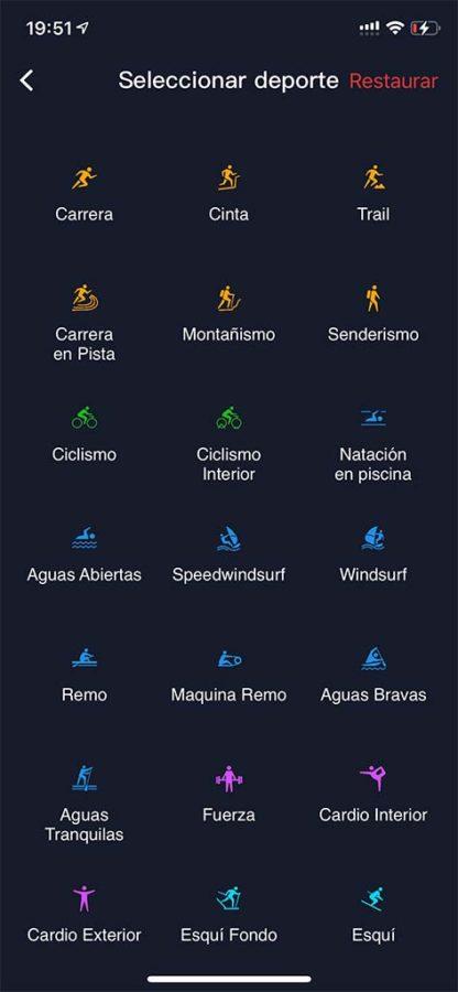 Configuración de deportes COROS APEX Pro