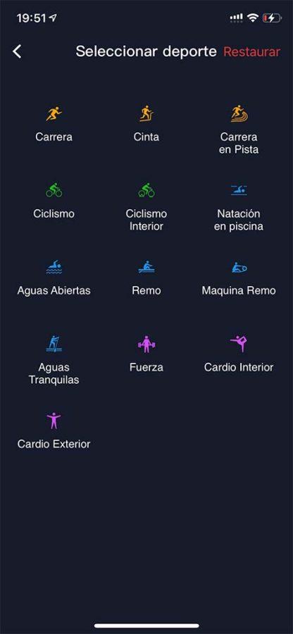 Configuración de deportes COROS PACE 2