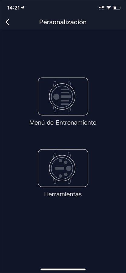 COROS PACE 2 - Configuración menús