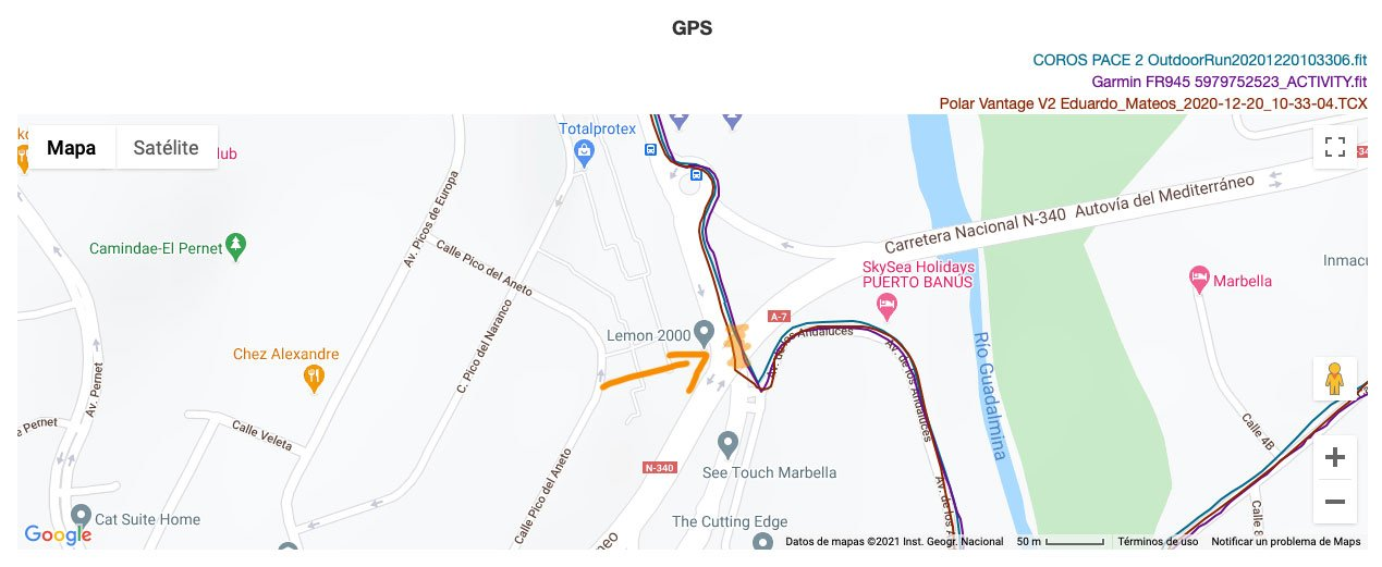 COROS PACE 2 - Comparativa GPS