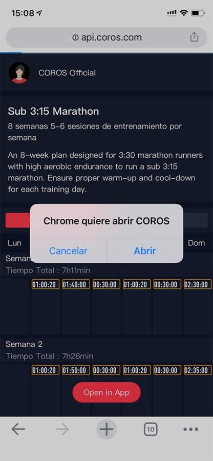 Plan de entrenamientos COROS PACE 2