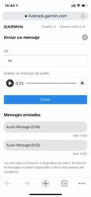 Garmin Forerunner 945 LTE - Mensaje LiveTrack audio