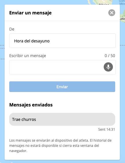 Garmin Forerunner 945 LTE - Mensaje LiveTrack