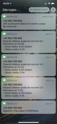 Garmin FR945 LTE - Mensajes seguimiento
